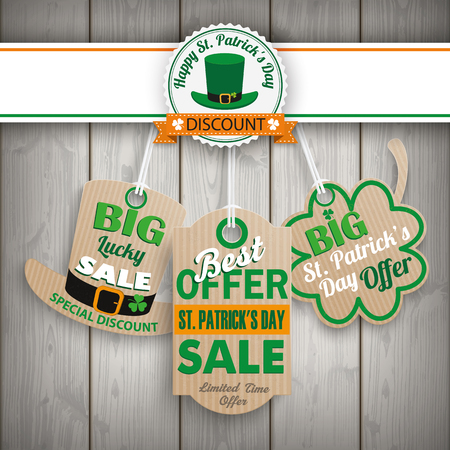 ire: 3 price stickers for St. Patricks Day on the wooden background. Eps 10 vector file.