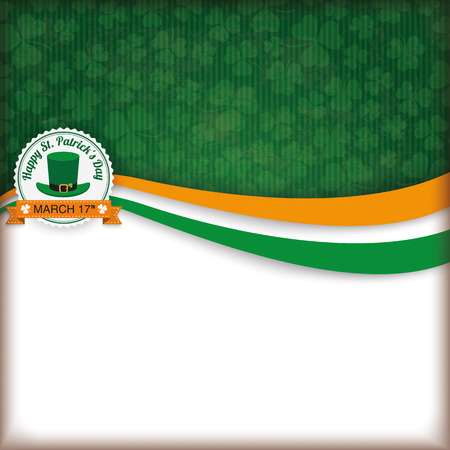 17th: Cloverleafs background for St. Patricks Day with banner and emblem. Eps 10 vector file. Illustration