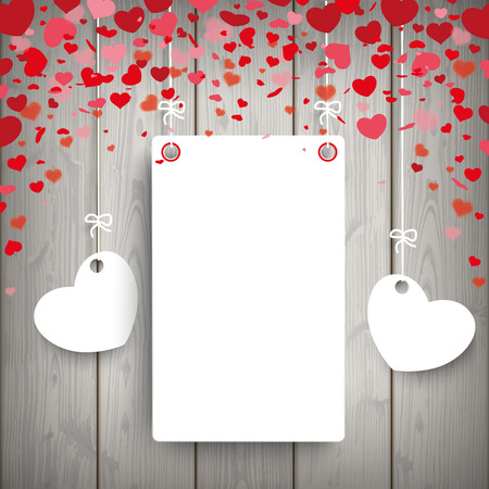 slat: Red hearts with paper frame on the wooden background. Eps 10 vector file.