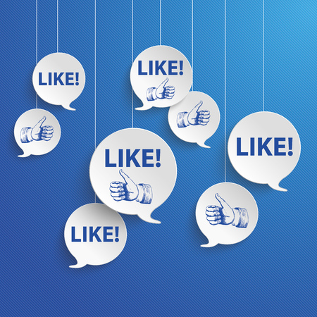 Paper speech bubbles on the blue background. Eps 10 vector file.