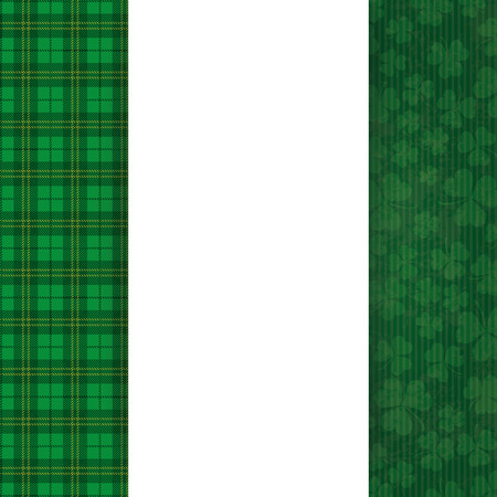 ire: Cloverleafs and tartan background for St. Patricks Day with banner and emblem. Eps 10 vector file.