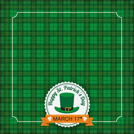 checked flag: Vintage tartan cover with emblem for St. Patricks Day. Eps 10 vector file.