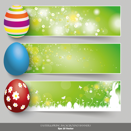 eps 10: Easter banners with colored easter eggs on the grey background. Eps 10 vector file. Illustration