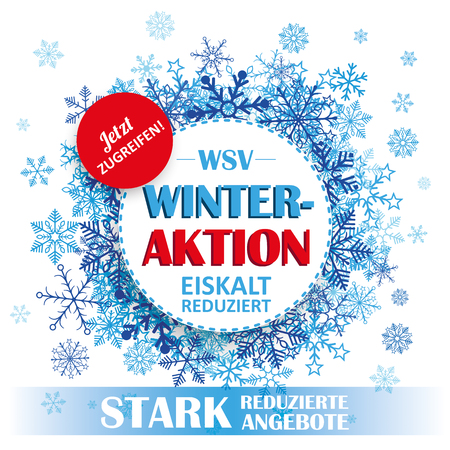 "German text ""WSV, Stark Reduzierte Angebote"", translate ""Winter Sale, Reduced Prices"". Eps 10 vector file."