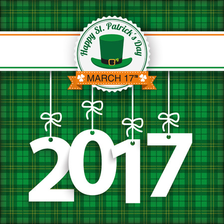 chequered ribbon: Tartan background with date 2017 for St. Patricks Day. Eps 10 vector file.