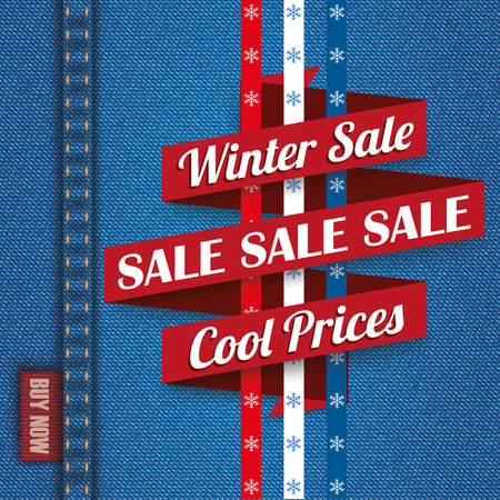 jeans fabric: Blue jeans fabric with winter sale ribbon. Eps 10 vector file.