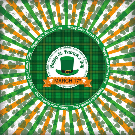 ire: Tartan background with hole, stripes, shamrocks and hole. Eps 10 vector file.
