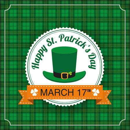 chequered ribbon: Vintage tartan cover with emblem for St. Patricks Day. Eps 10 vector file.