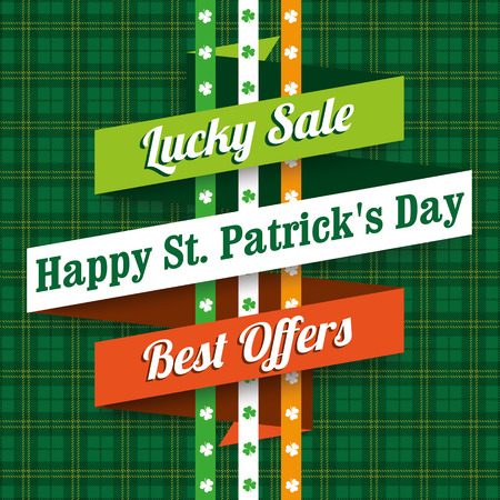 saint patricks: Green irish tartan background for St. Patricks Day sale retro ribbon. Eps 10 vector file.