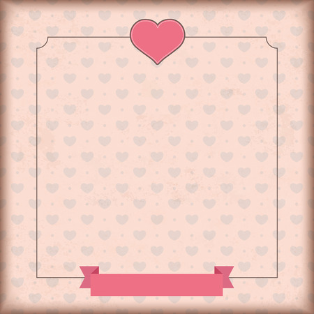 mothersday: Vintage cover with white heart and ribbon. Eps 10 vector file.