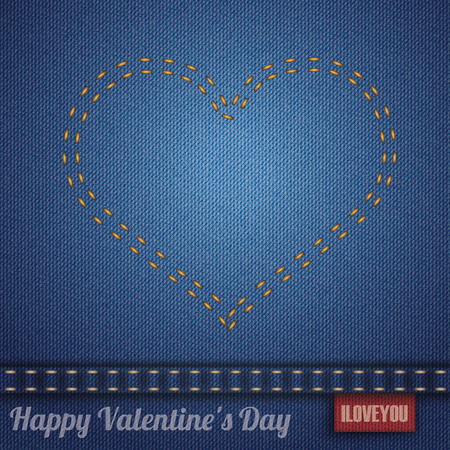 seam: Blue jeans fabric with heartshape double-stitched seam. Eps 10 vector file.