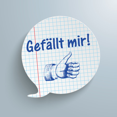 alright: German text Gefaellt mir, translate I like it. Eps 10 vector file.