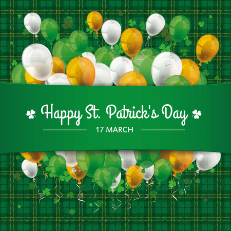 irish banner: Green irish tartan background for St. Patricks Day with banner, balloons and shamrocks. Eps 10 vector file.