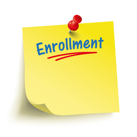 enrollment: Yellow stick with red pin and text Enrollment. Eps 10 vector file. Illustration