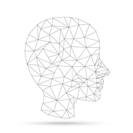 eps: Low poly human head on the white background. Eps 10 vector file.