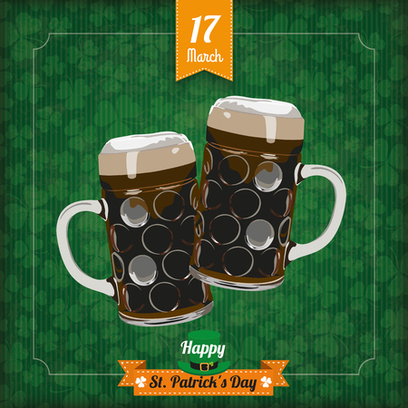 17th: Vintage cover with flag and frame for St. Patricks Day. Eps 10 vector file.