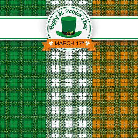 Green irish tartan background for St. Patricks Day with banner and emblem. Eps 10 vector file.