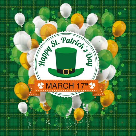 17th: Green irish tartan background for St. Patricks Day with emblem, balloons and cloverleafs. Eps 10 vector file.