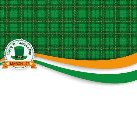 irish banner: Green irish tartan background for St. Patricks Day with banner and emblem. Eps 10 vector file.