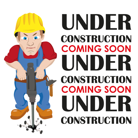 estate planning: Worker with text Under Construction, Coming Soon.Eps 10 vector file.
