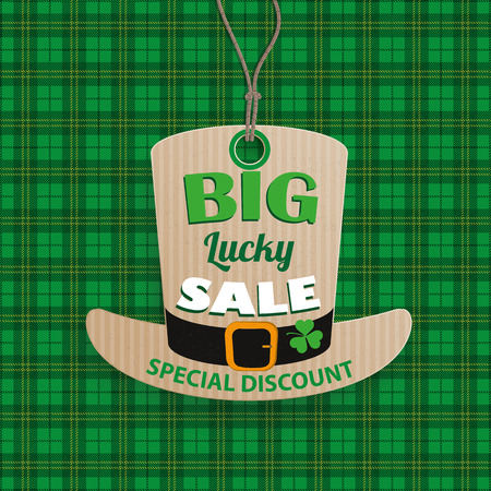 17th of march: Green irish tartan background for St. Patricks Day sale. Eps 10 vector file. Illustration