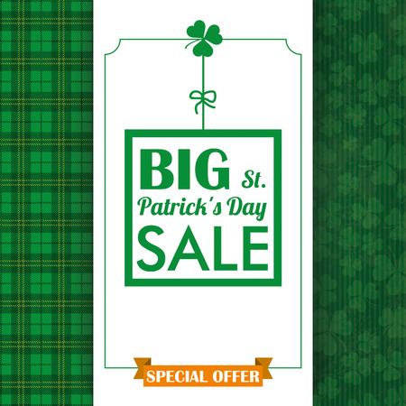 Cloverleafs and tartan background for St. Patrick's Day sale. Eps 10 vector file.