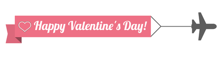 mothersday: Jet with ribbon and text Happy Valentines Day!. Eps 10 vector file.