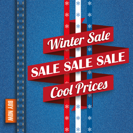 jean: Blue jeans fabric with winter sale ribbon. Eps 10 vector file.