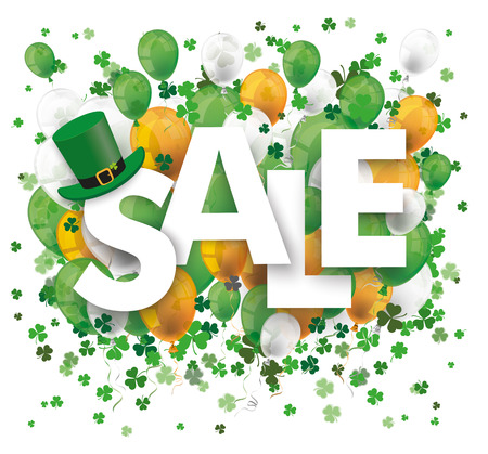 Text sale with colored balloons and shamrocks on the white background. Eps 10 vector file. Illustration