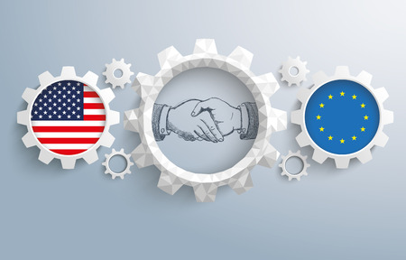 controll: USA and EU flag with handdrawn handshake on the gray background. Eps 10 vector file. Illustration