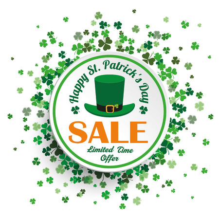 White paper circle with cloverleafs for St. Patricks Day sale on the white background. Eps 10 vector file.
