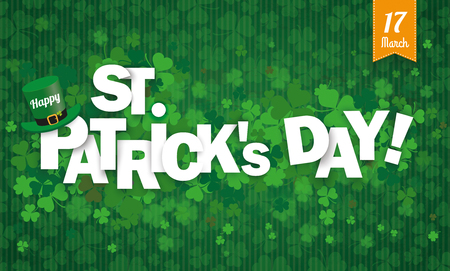17th: Vintage background with shamrocks for St Patricks Day. Eps 10 vector file.