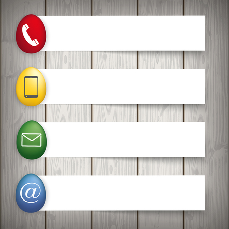 Easter eggs with contact icons and banners on the wooden background. Eps 10 vector file.