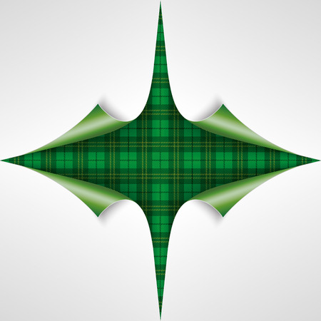 17th: Vintage tartan cover with 4 scrolled paper corners  for St. Patricks Day. Eps 10 vector file.