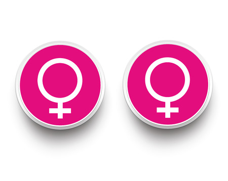 homosexual sex: Lesbian paper buttons on the white background. Eps 10 vector file.