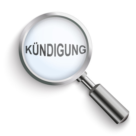 resignation: German text Kuendigung, translate Termination. Eps 10 vector file.