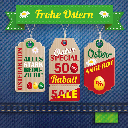 German text Osterangebot, Alles Stark Reduziert, Frohe Ostern, translate Easter Offer, Special Prices, Happy Easter.