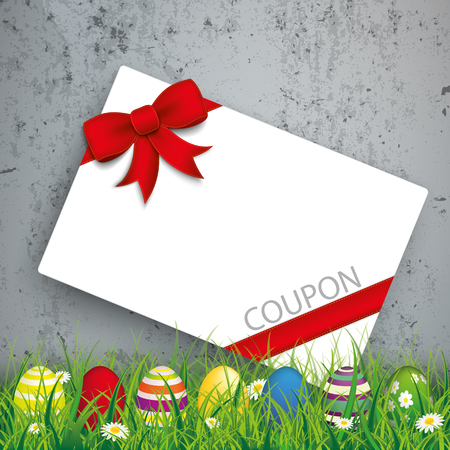 sell: Green grass with colored easter eggs and coupon card on the concrete background. Eps 10 vector file.