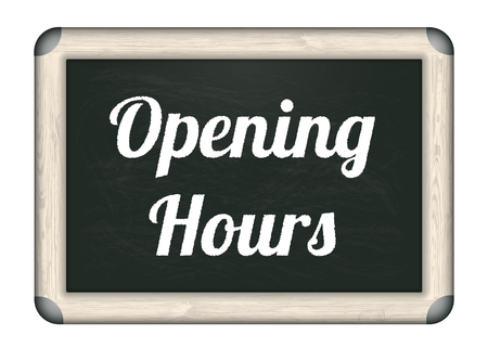 shop opening hours: Blackboard with text Opening Hours. Eps 10 vector file. Illustration