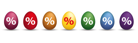 8 colored easter eggs with percents on the white. Eps 10 vector file.