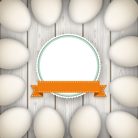 slat: Eggs with emblem on the wooden background. Eps 10 vector file.