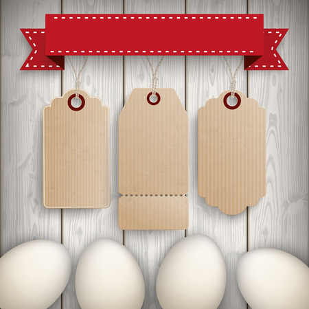 slats: Eggs with 3 price labels on the wooden background. Eps 10 vector file.