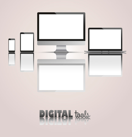 mirroring: Set of realistic monitor, notebook, tablet and phone with text Digital Tools. Eps 10 vector file. Illustration