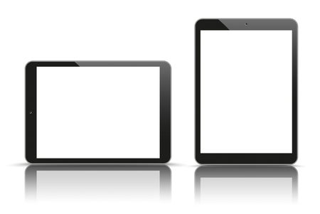 tft: Set of realistic 2 tablets on the white background. Eps 10 vector file. Illustration