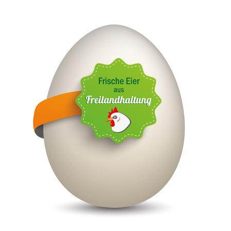 free range: German text Frische Eier aus Freilandhaltung, translate Fresh Free-Range Eggs. Eps 10 vector file.