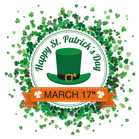 White paper emblem with cloverleafs for St. Patricks Day on the white background. Eps 10 vector file.