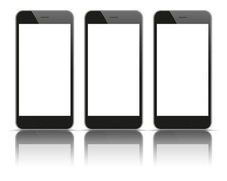 tft: 3 black smartphones with blank screens and shadows on the white background. Illustration