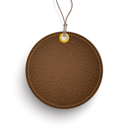 cowhide: Round leather price sticker on the white. Eps 10 vector file. Illustration