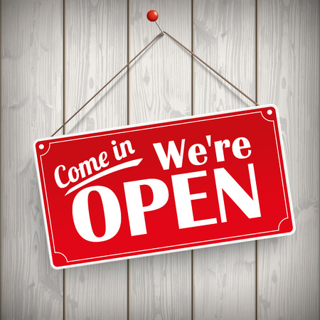 come in: Red hanging sign with text Come in, were open.  Eps 10 vector file.