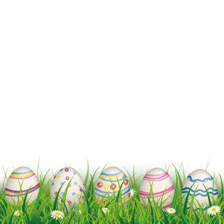 Groen gras met gekleurde paaseieren op de witte achtergrond. Eps 10 vector-bestand. Stock Illustratie